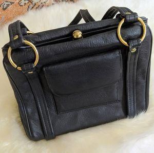 90's Vintage Black Leather Bag